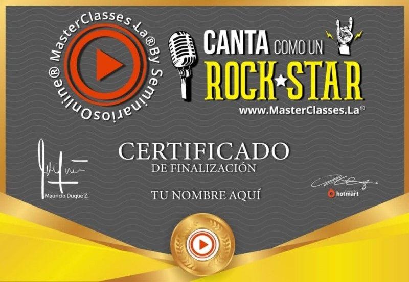 Certificado de Canta Como Un Rockstar