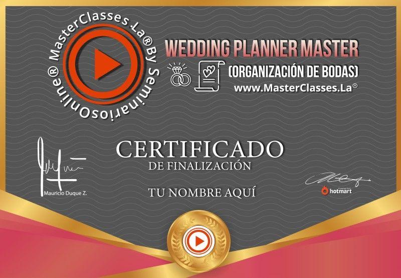 Certificado de Wedding Planner Master (Organización de Bodas)