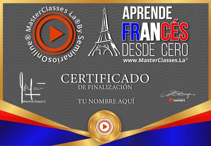 Certificado de Aprende Francés desde Cero