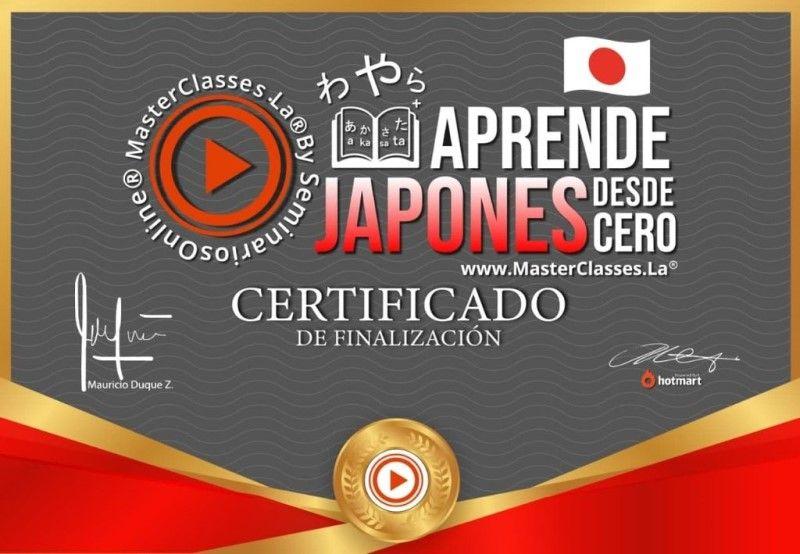 Certificado de Aprende Japonés desde Cero