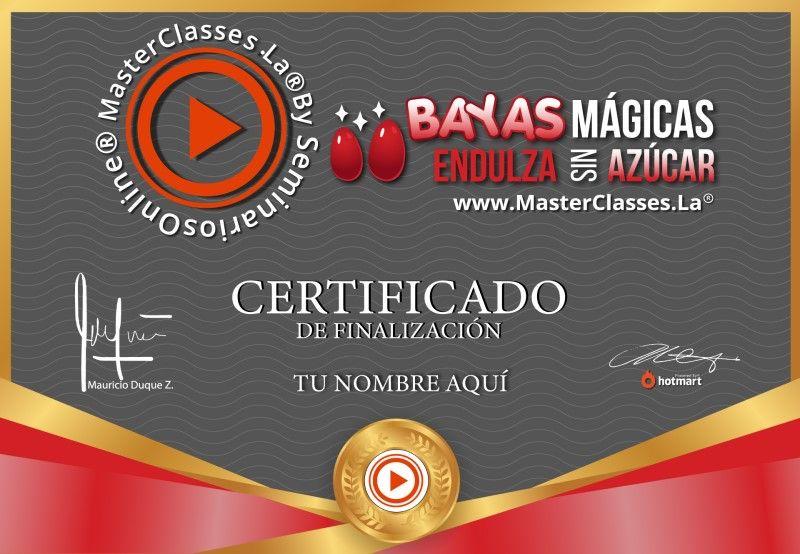 Certificado de Bayas Mágicas Endulza sin Azúcar