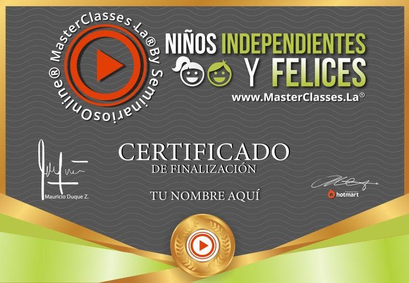 Certificado de Niños Independientes y Felices
