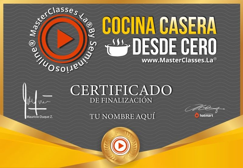Certificado de Cocina Casera desde Cero