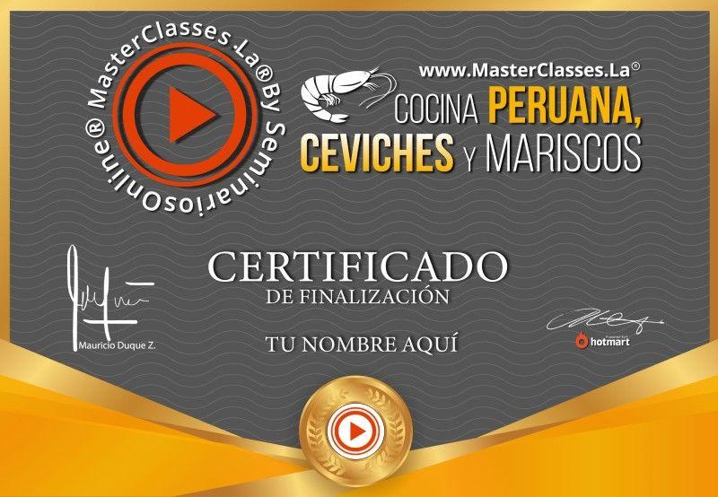 Certificado de Cocina Peruana, Ceviches y Mariscos