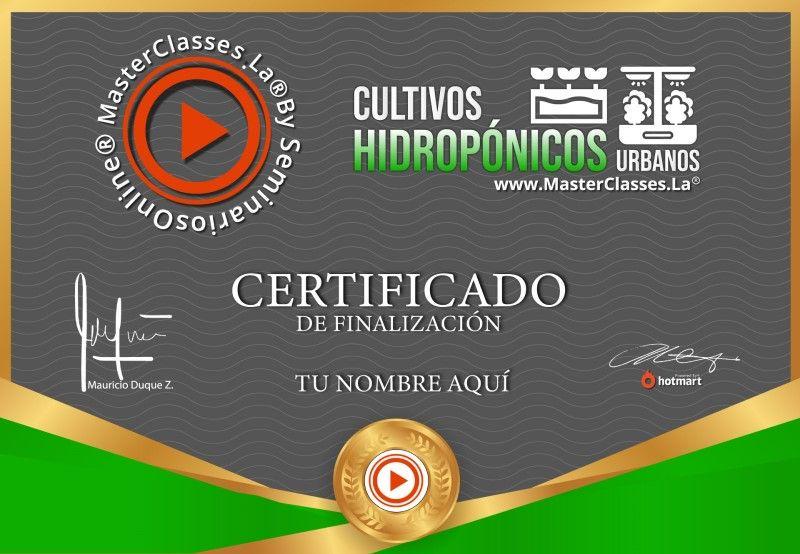 Certificado de Cultivos Hidropónicos Urbanos
