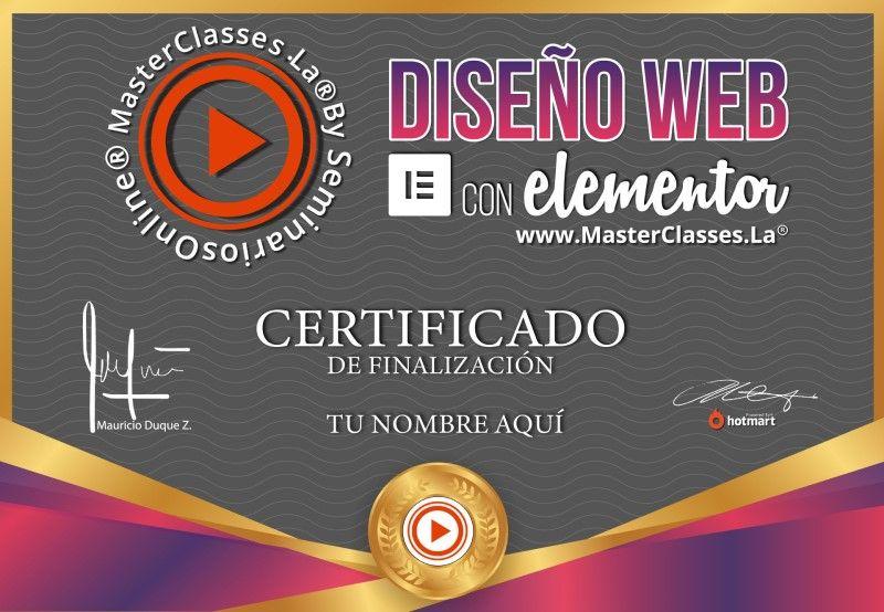 Certificado de Diseño Web con Elementor