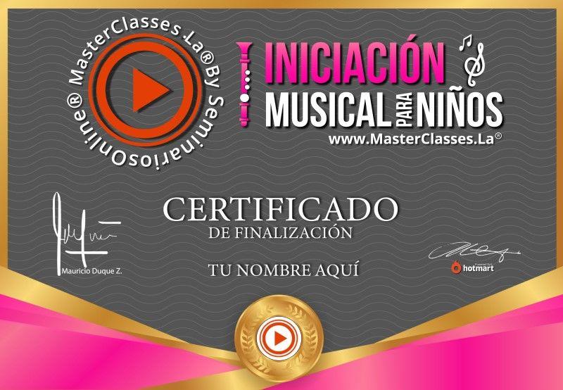 Certificado de Iniciación Musical para Niños