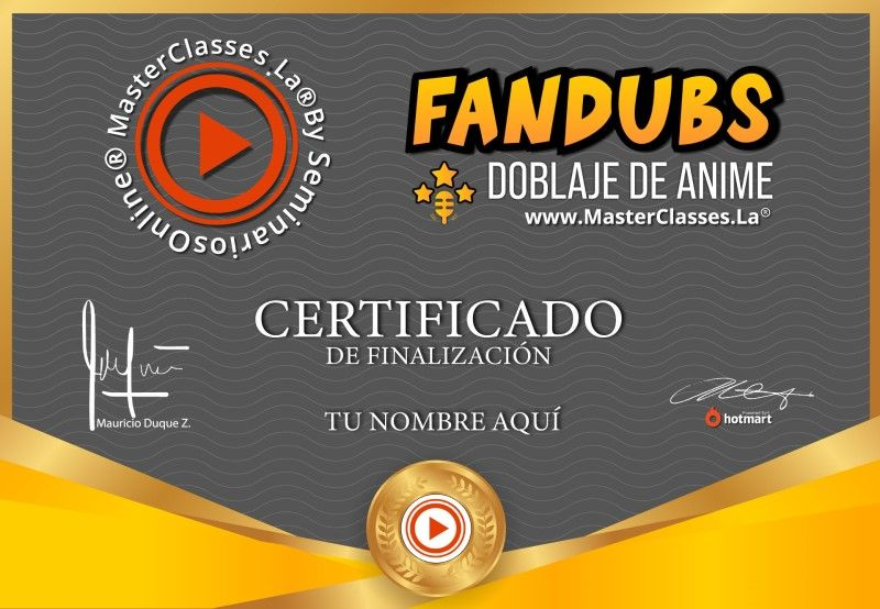 Certificado de Fandubs Doblaje de Anime
