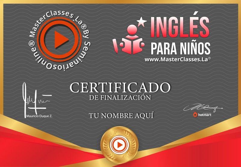 Certificado de Inglés para Niños