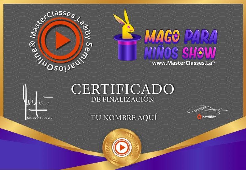 Certificado de Mago para Niños Show