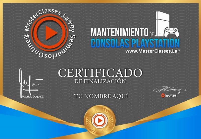 Certificado de Mantenimiento de Consolas PlayStation