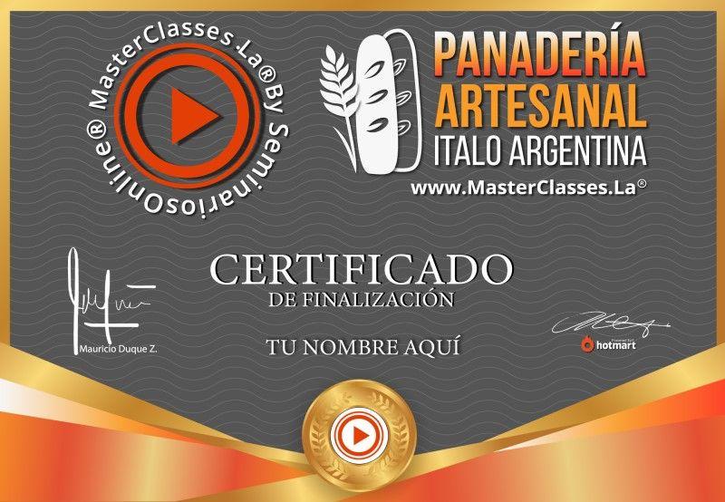 Certificado de Panadería Artesanal Ítalo Argentina