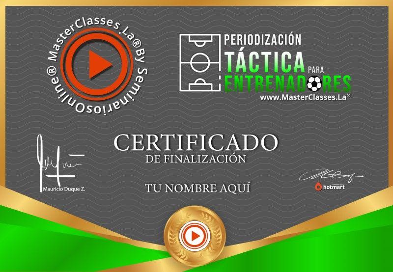 Certificado de Periodización Táctica Para Entrenadores