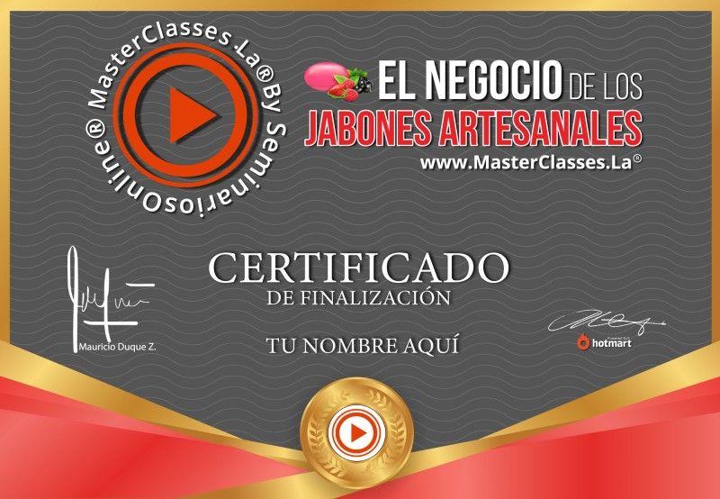 Certificado de El Negocio de los Jabones Artesanales