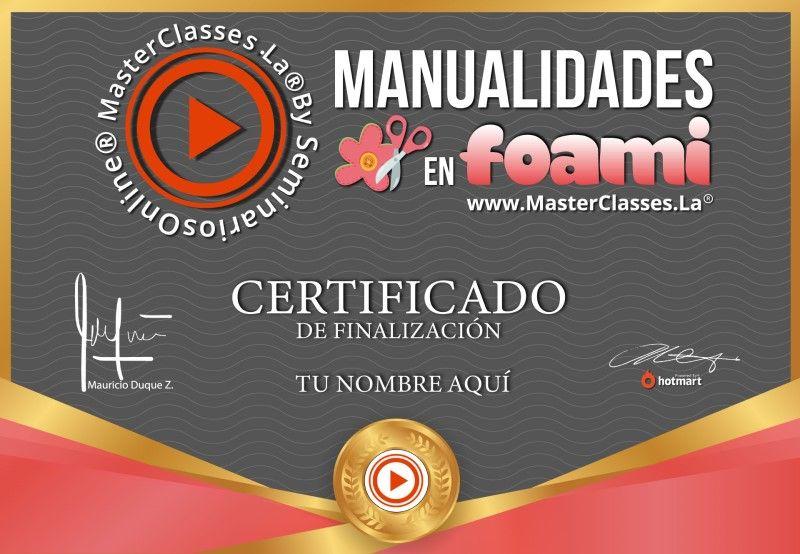 Certificado de Manualidades en Foami