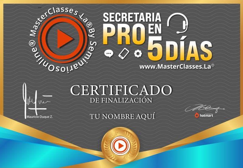 Certificado de Secretaria Pro en 5 Días