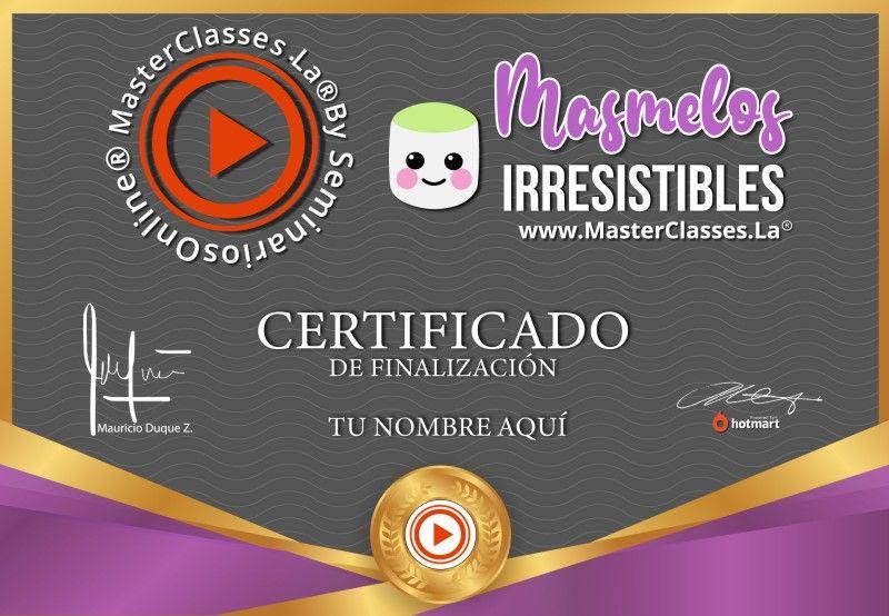 Certificado de Masmelos Irresistibles
