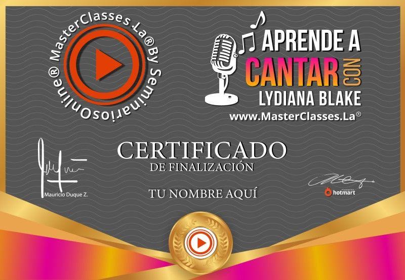 Certificado de Aprende a Cantar