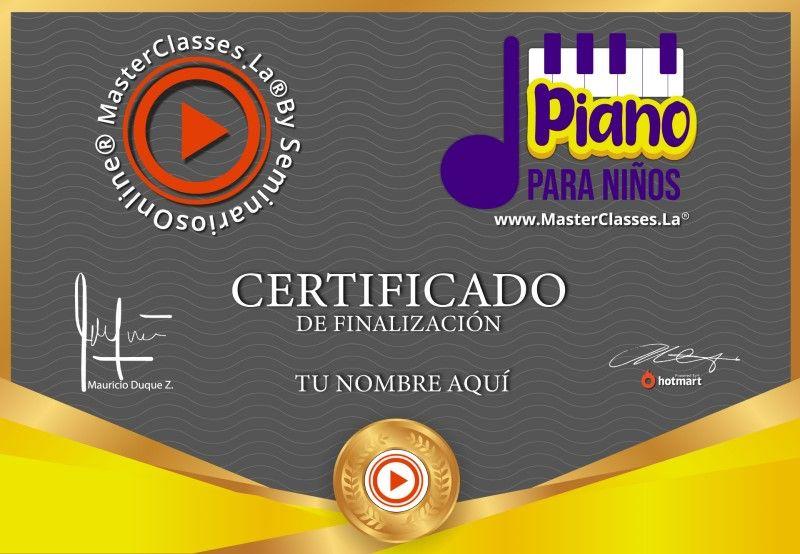 Certificado de Piano para Niños