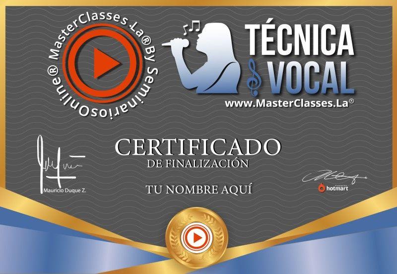 Certificado de Técnica Vocal