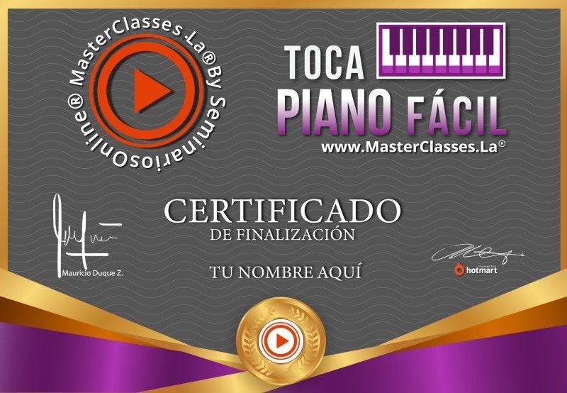 Certificado de Toca Piano Fácil