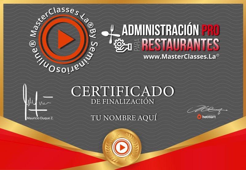 Certificado de Administración Pro para Restaurantes