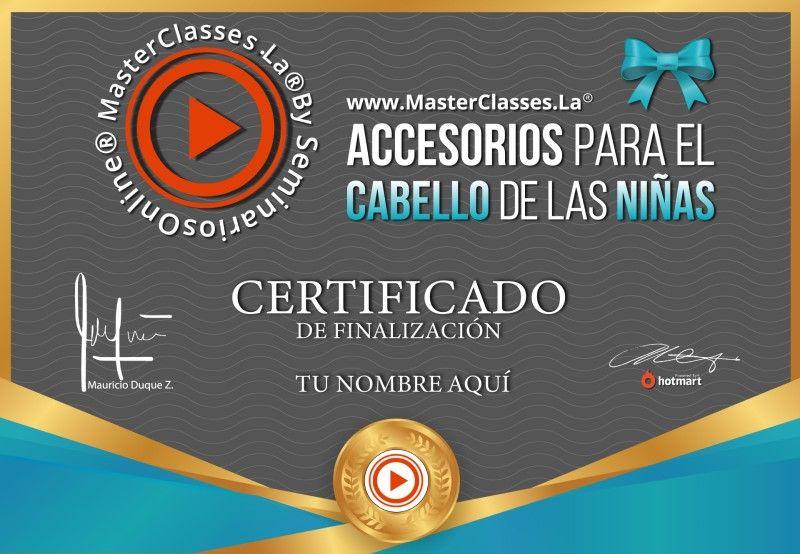 Certificado de Accesorios para el Cabello de las Niñas