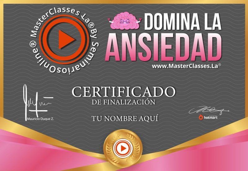 Certificado de Domina la Ansiedad