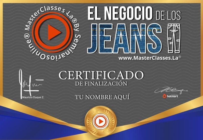 Certificado del Negocio de los Jeans