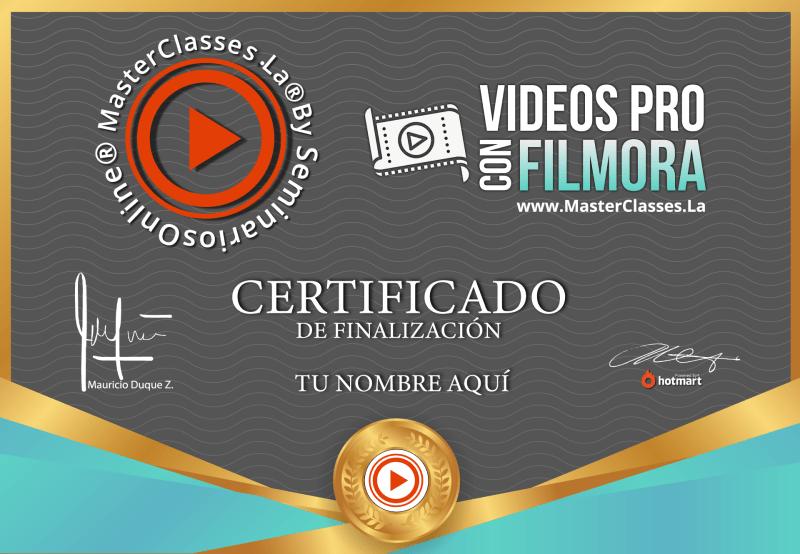 Certificado de Videos Pro con Filmora