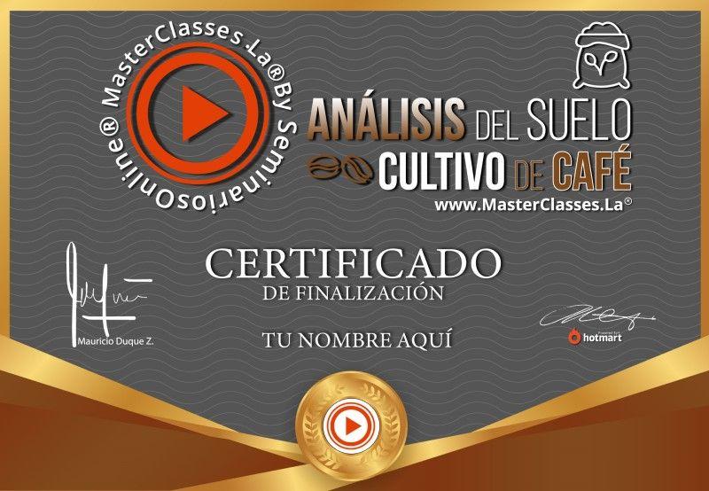 Certificado de Análisis del Suelo Cultivo de Café