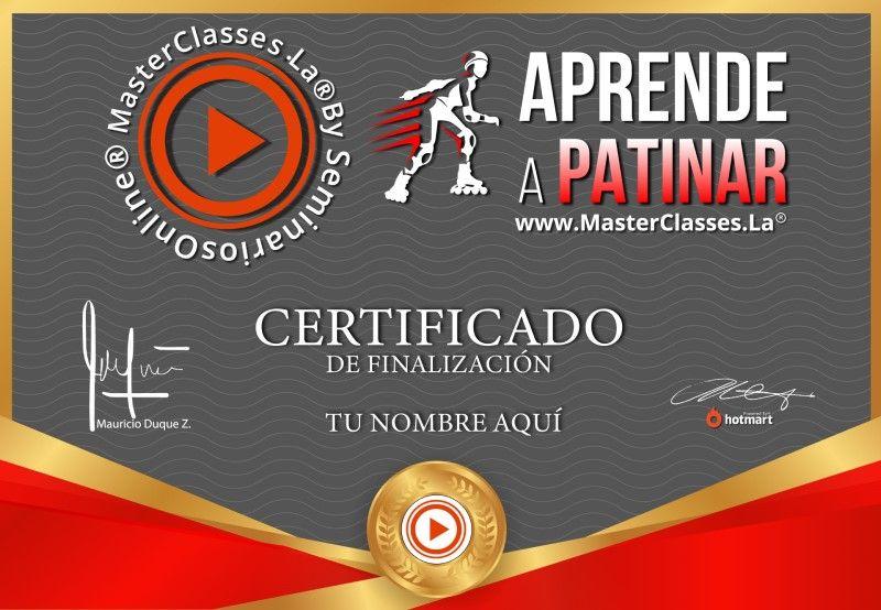 Certificado del curso Aprende a Patinar