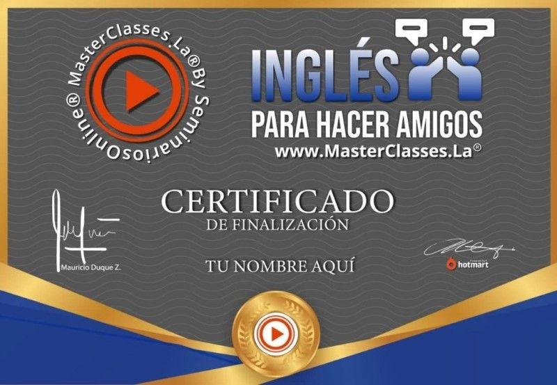 Certificado de Inglés Para Hacer Amigos