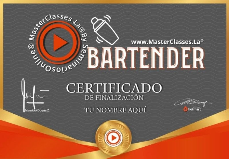Certificado de BARTENDER