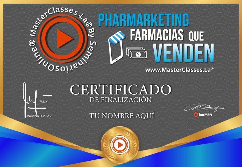 Certificado de Pharmarketing Farmacias que Venden