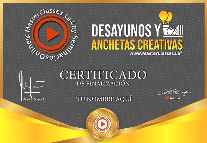 Certificado de Desayunos y Anchetas Creativas