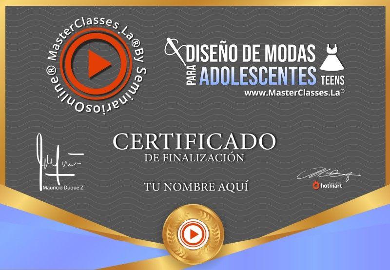 Certificado de Diseño de Modas para Adolescentes