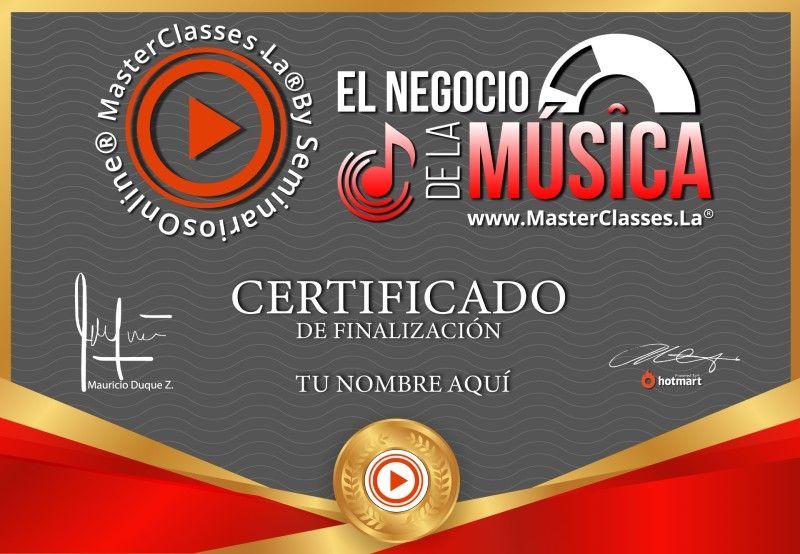 Certificado de El Negocio de la Música