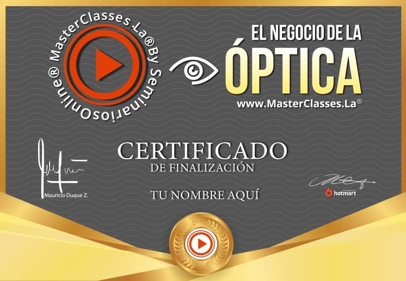 Certificado de El Negocio de la Óptica