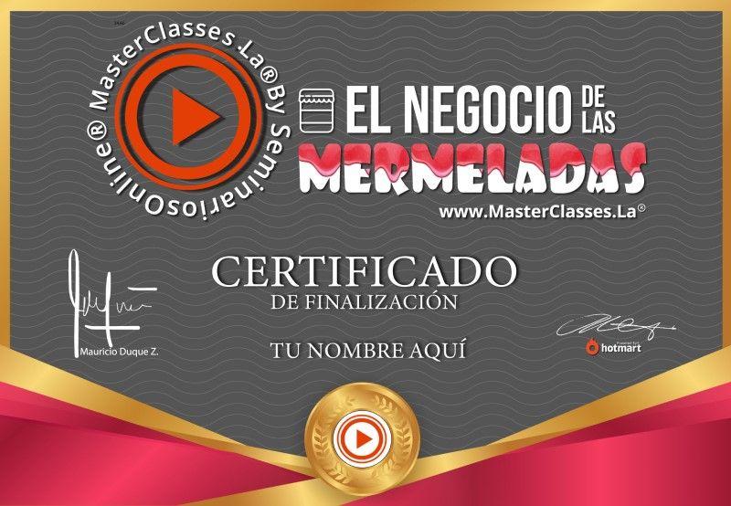Certificado de El Negocio de las Mermeladas