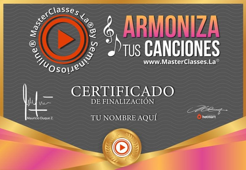 Certificado de Armoniza Tus Canciones
