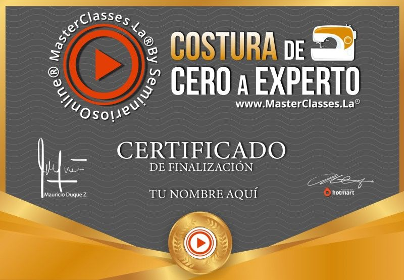 Certificado de Costura de Cero a Experto
