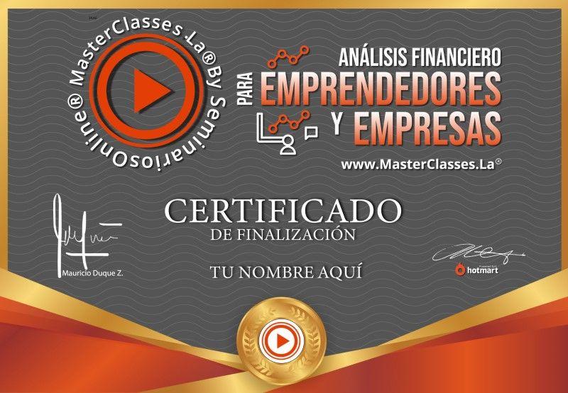 Certificado de Análisis Financiero para Emprendedores y Empresas
