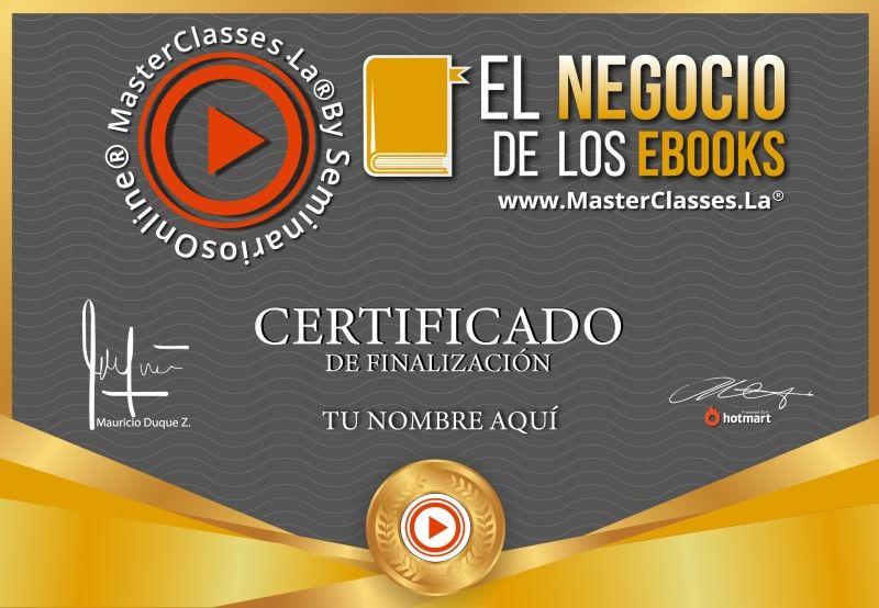 Certificado de El Negocio de los Ebooks
