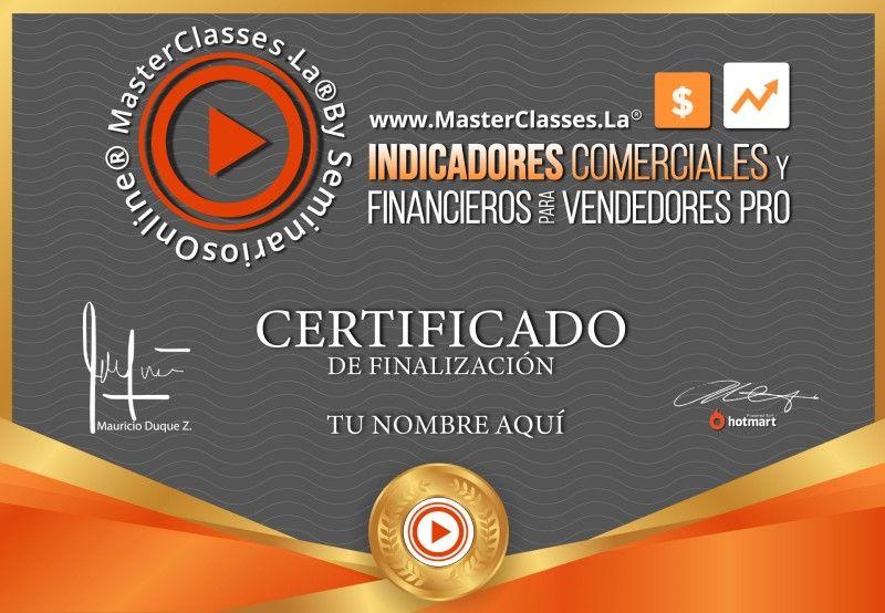 Certificado de Indicadores Comerciales y Financieros para Vendedores Pro