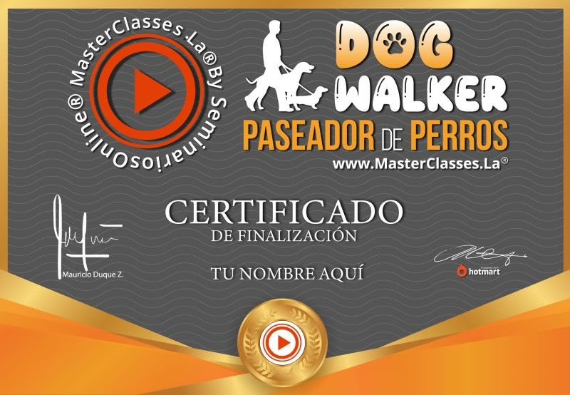Certificado de Dog Walker - Paseador de Perros