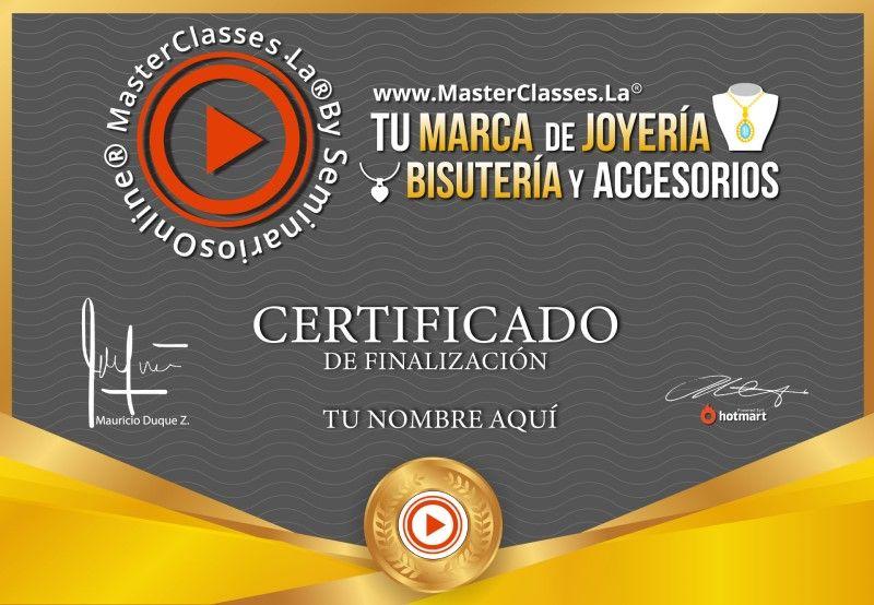 Certificado de Tu Marca de Joyería, Bisutería y Accesorios