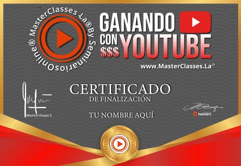 Certificado de Ganando con YouTube