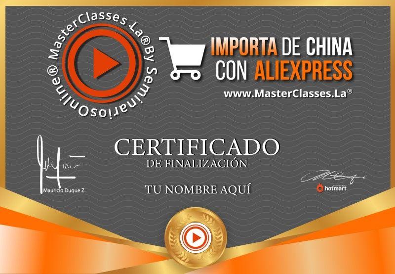 Certificado de Importa desde China con Aliexpress
