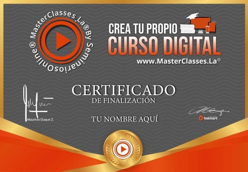 Certificado de Crea Tu Propio Curso Digital